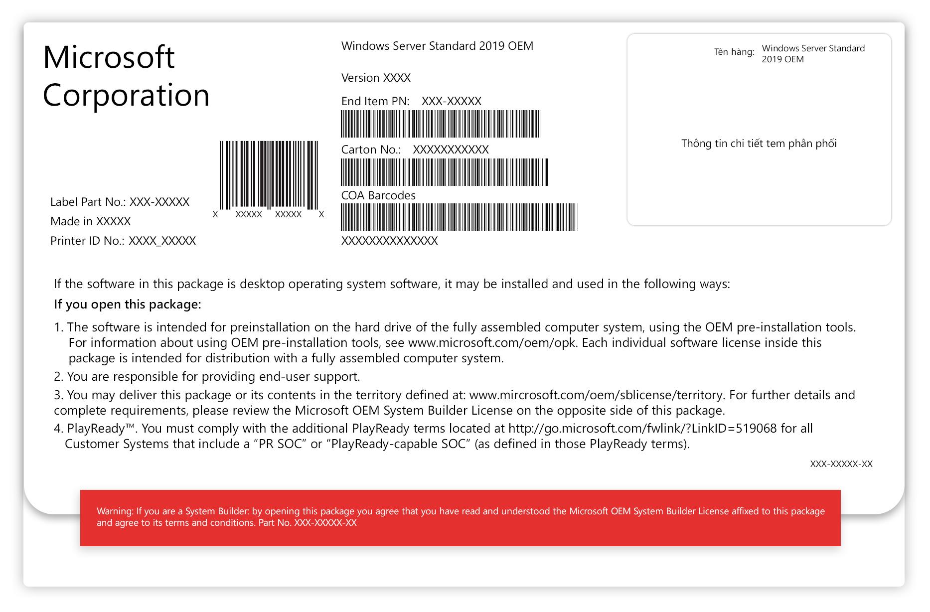Phần mềm Windows Svr Std 2019 64Bit English 1pk DSP OEI DVD 16 Core  P73-07788