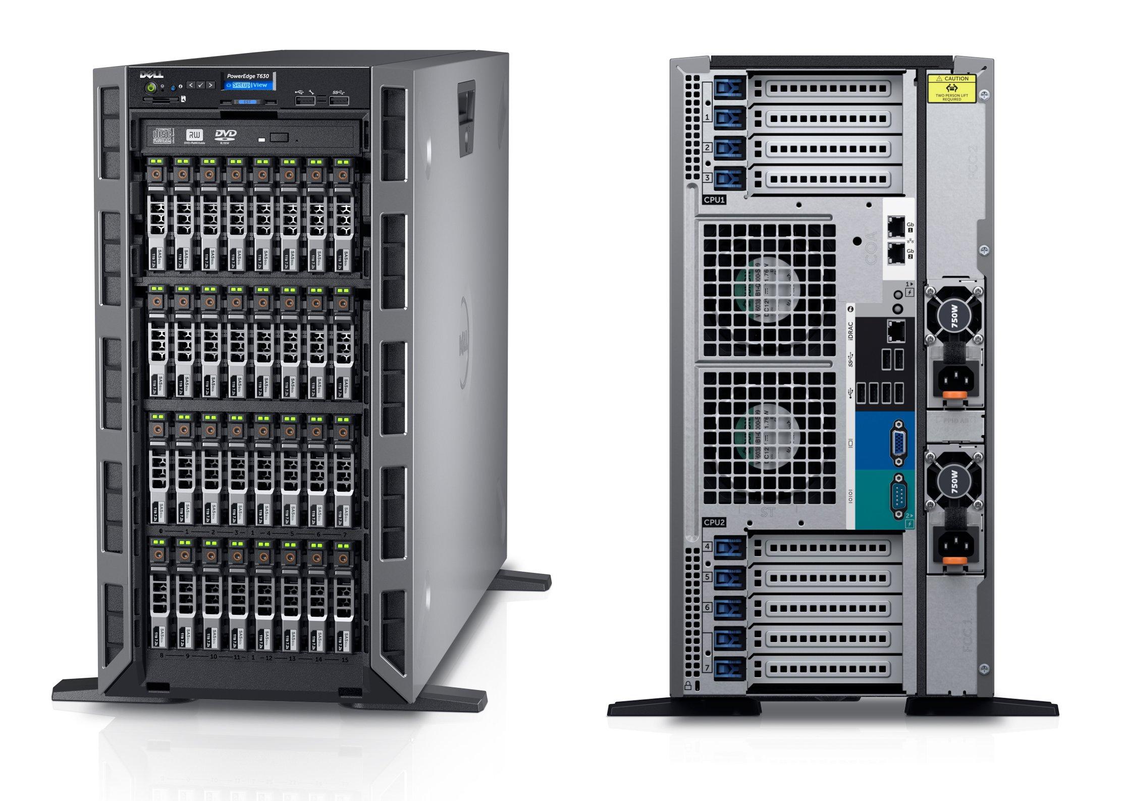 DELL PowerEdge T630, E5-2620v4 2.1Ghz 8C, 8GB, 2TB SATA, 8x3.5in, H730, DVD-ROM, 2x1Gb, 2x750W
