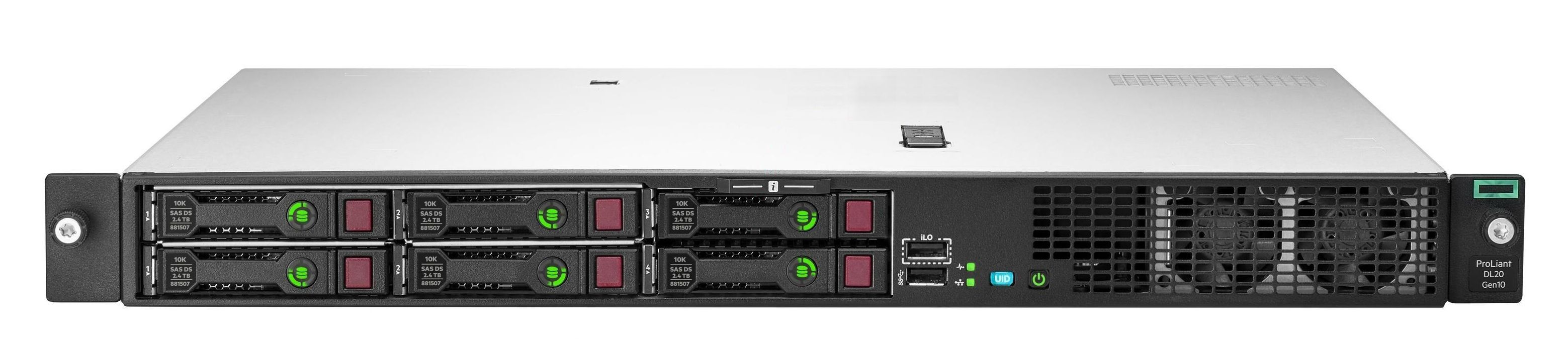 DL20 Gen10 2LFF E2234 (3.6GHz/4-core/71W)/ 16GB/ 290W PS/ Non HDD/ S100i/ 290W PS/ 3Y WTY