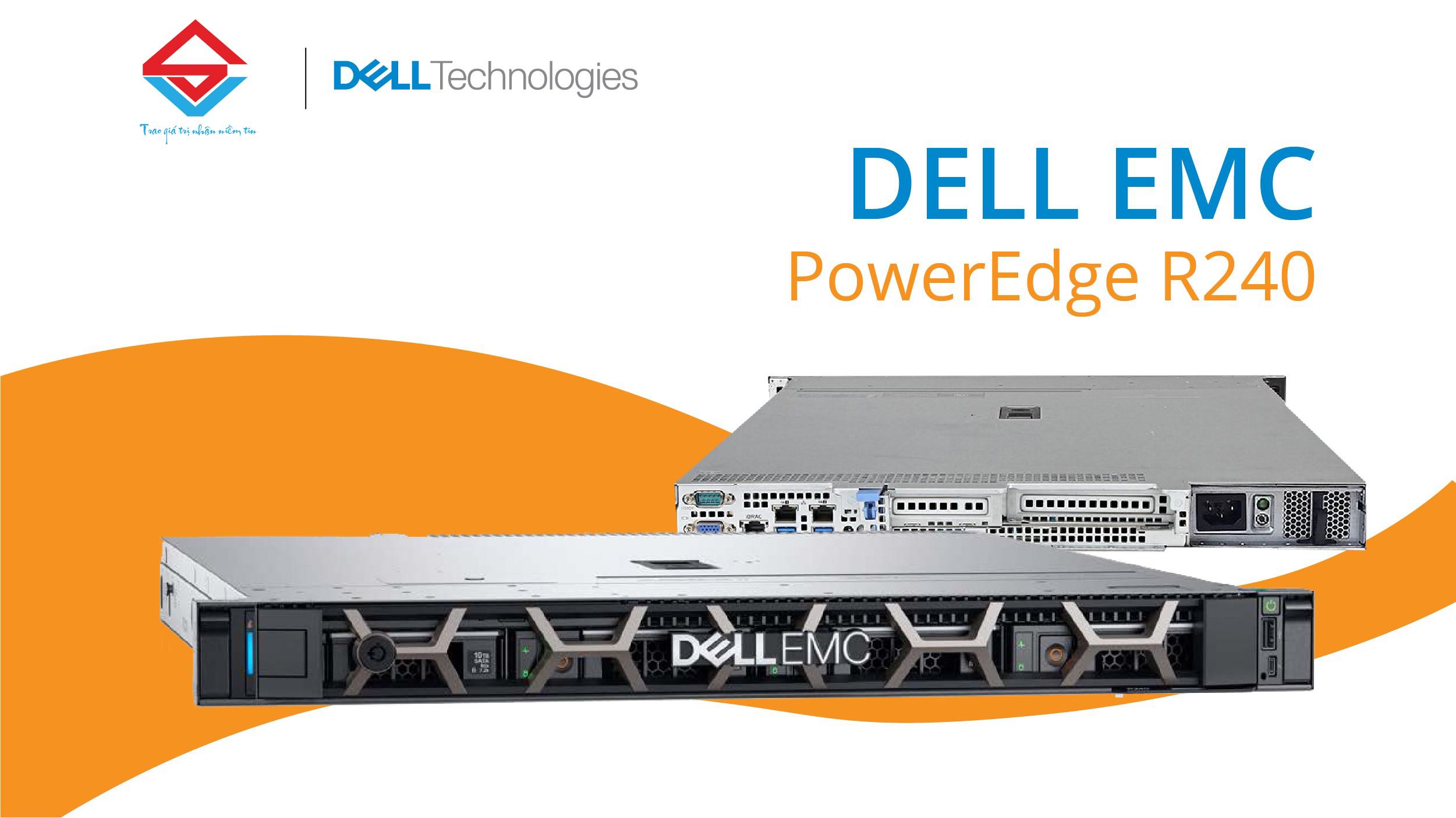 Dell PowerEdge R240 - Máy chủ 1U dạng Rack được thiết kế cho các doanh nghiệp vừa và nhỏ với ngân sách tối ưu nhất.